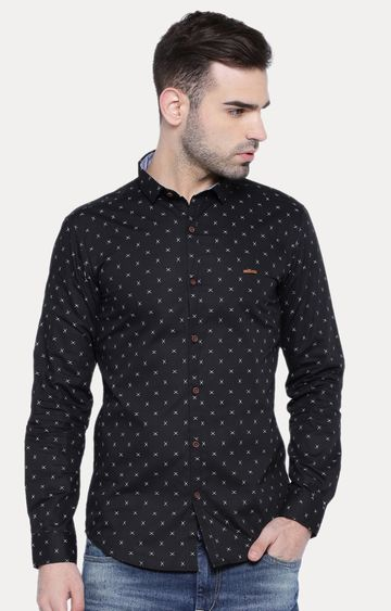 With | Black Patterned Casual Shirt