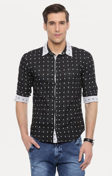 With | Black Printed Reversible Casual Shirt