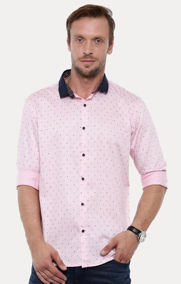 With | Pink Printed Casual Shirt