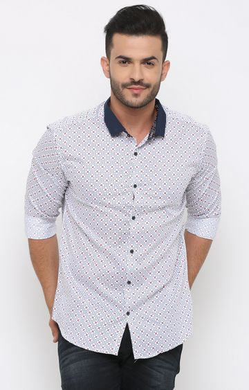 With   White and Blue Printed Casual Shirt
