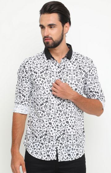 With | White and Black Printed Casual Shirt