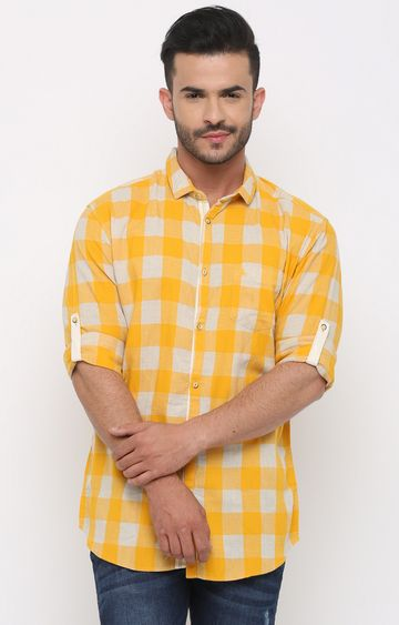 With | Yellow Checked Casual Shirt