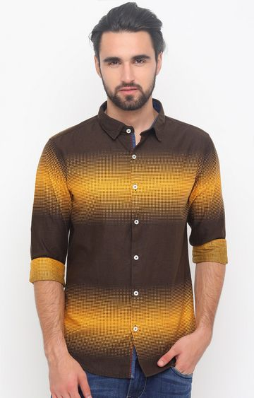 With | Brown and Yellow Printed Casual Shirt