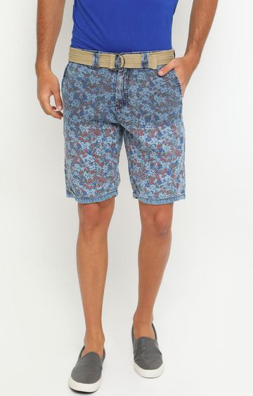 With | Blue Printed Shorts