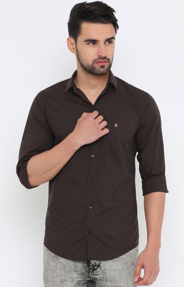 With   Brown Solid Casual Shirt