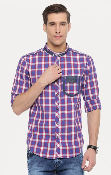 With | Purple Checked Casual Shirt