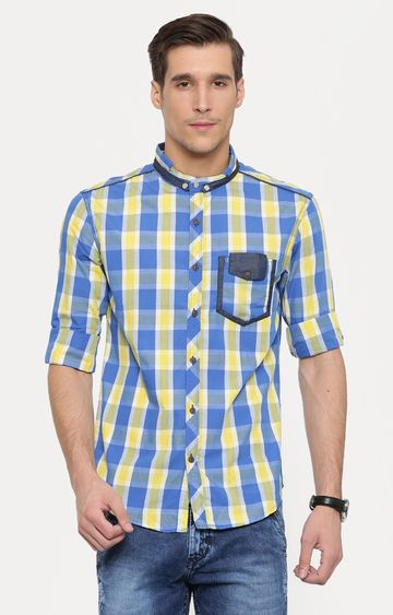 With | Yellow and Blue Checked Casual Shirt