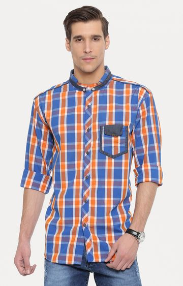 With | Orange and Blue Checked Casual Shirt