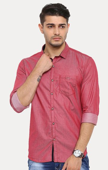 With   Red Melange Casual Shirt