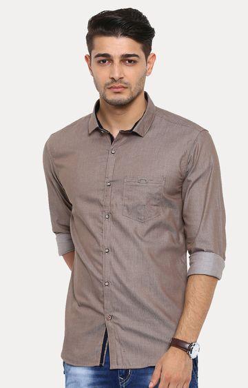 With   Khaki Melange Casual Shirt