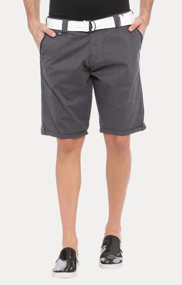 With | Grey Solid Shorts
