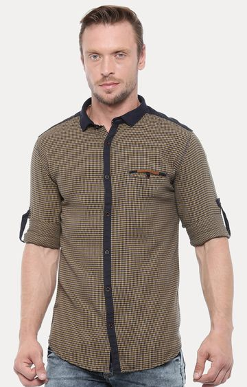 With | Yellow & Black Printed Casual Shirt