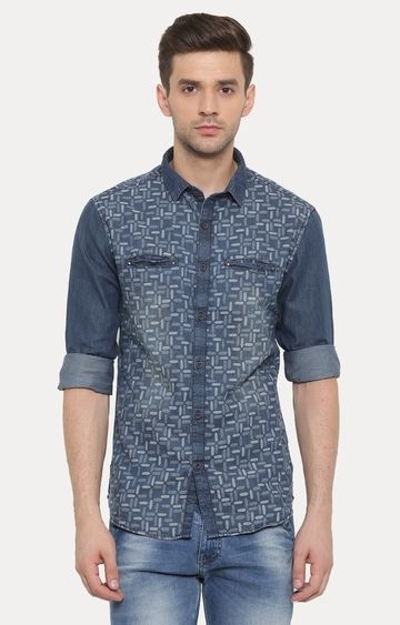 With | Dark Blue Printed Casual Shirt