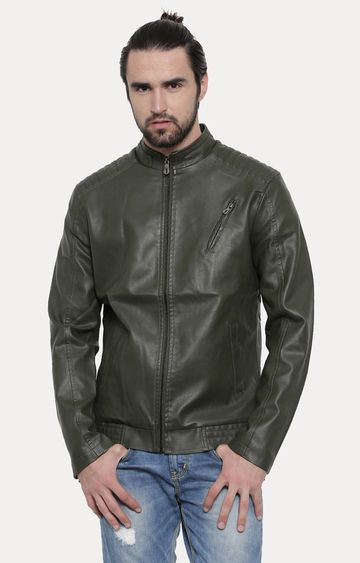 With | Dark Green Solid PU Leather Jacket