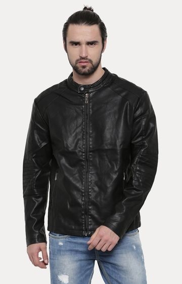With | Black Solid PU Leather Jacket