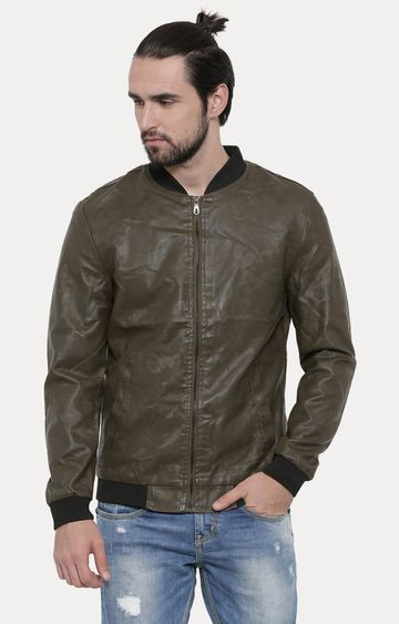 With | Olive Solid PU Leather Jacket
