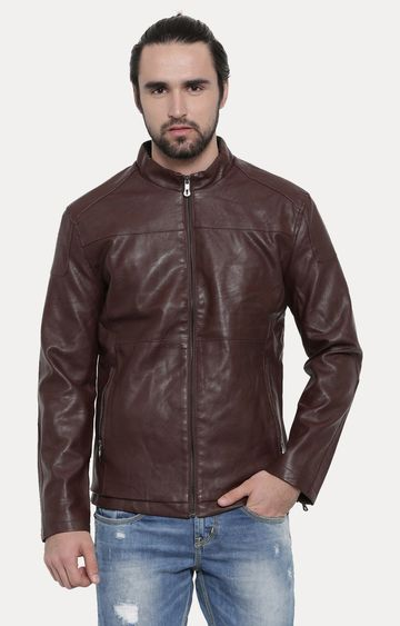 With | Maroon Solid PU Leather Jacket