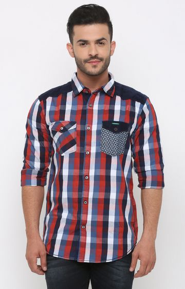 With | Red and Blue Checked Casual Shirt