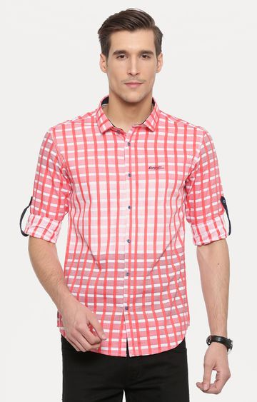 With   Peach Printed Casual Shirt