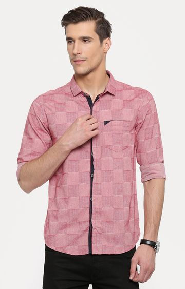 With | Peach Printed Casual Shirt