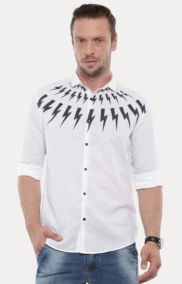With | White Printed Casual Shirt