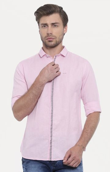 With   Pink Solid Casual Shirt