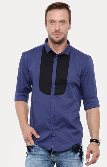 With | Navy Blue Printed Casual Shirt