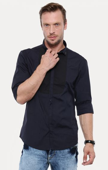 With | Navy Blue Solid Casual Shirt