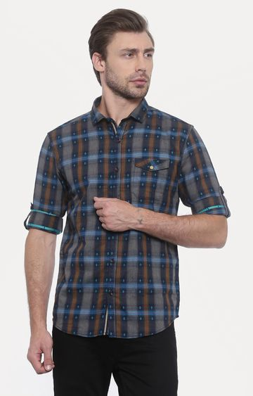 With | Green Checked Casual Shirt