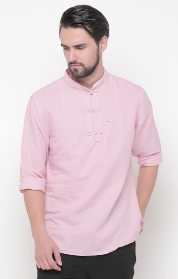 With | Pink Solid Kurta