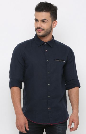 With | Navy Solid Casual Shirt