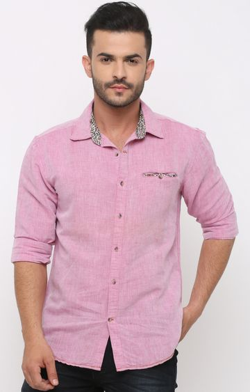 With | Pink Solid Casual Shirt