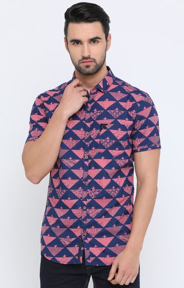With | Pink and Blue Printed Casual Shirt