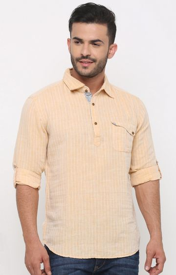 With | Peach Striped Casual Shirt