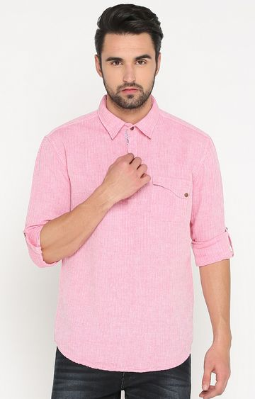 With | Pink Striped Casual Shirt