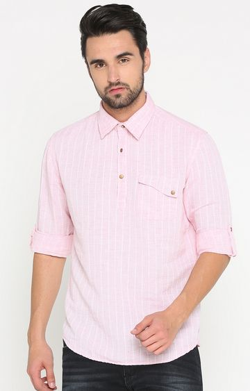 With   Pink Striped Casual Shirt