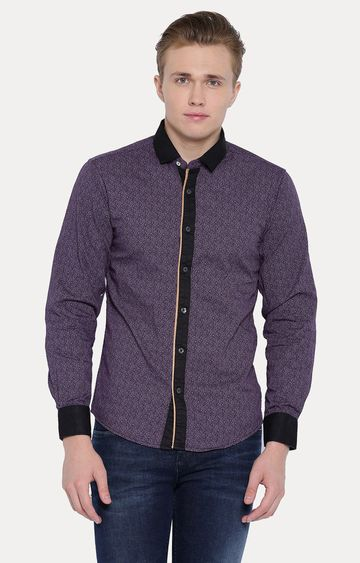 With | Purple Patterned Casual Shirt