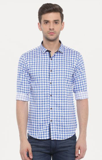 With | White and Blue Printed Casual Shirt
