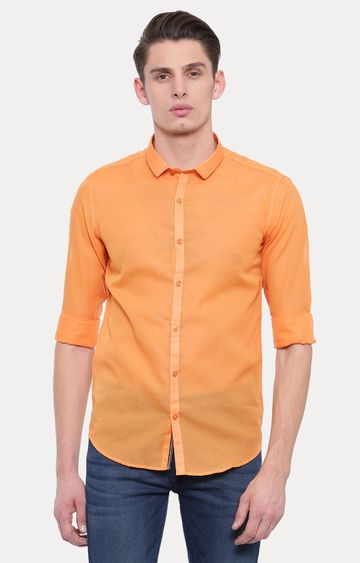 With   Orange Solid Casual Shirt