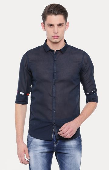 With   Dark Blue Solid Casual Shirt