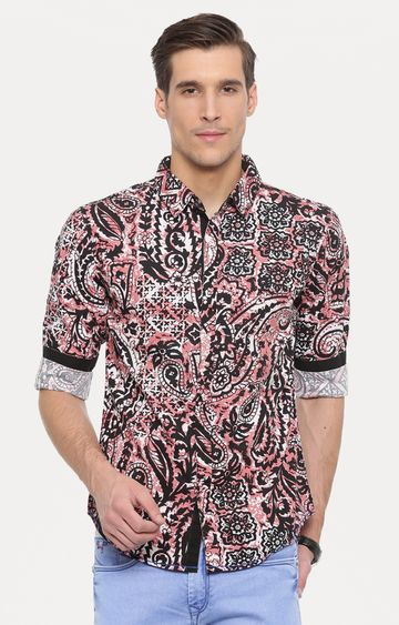 With | Black and Peach Printed Casual Shirt