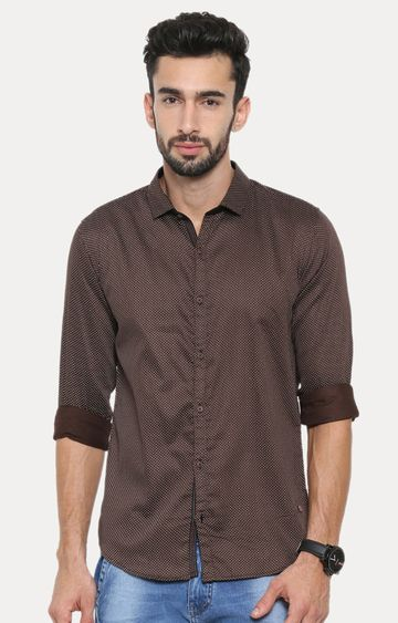 With | Olive Patterned Casual Shirt