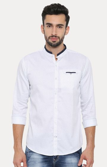With | White Patterned Casual Shirt