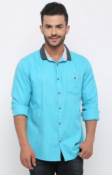 With | Sky Blue Solid Casual Shirt