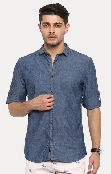 With | Navy Melange Casual Shirt