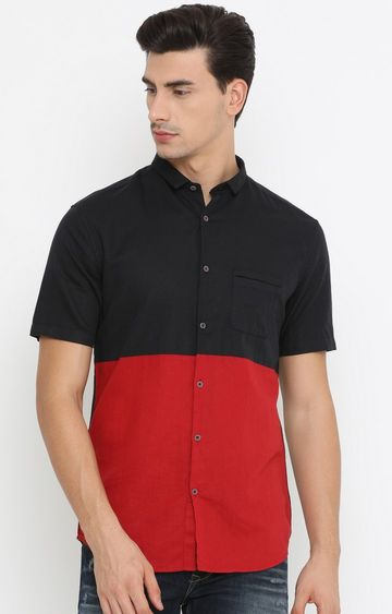 With | Black and Red Colourblock Casual Shirt