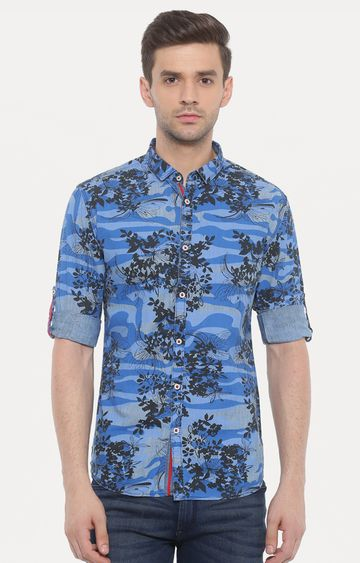With   Blue Printed Casual Shirt