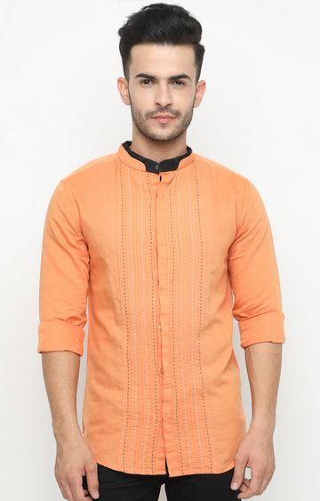 With | Orange Striped Casual Shirt