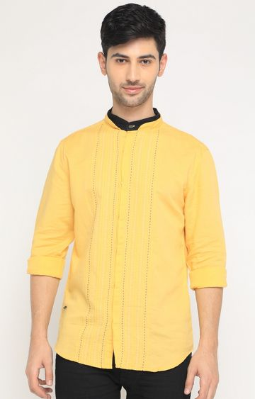 With | Yellow Striped Casual Shirt