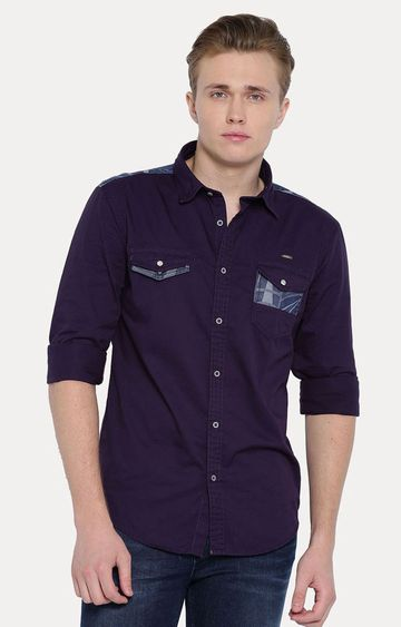 With   Purple Solid Casual Shirt